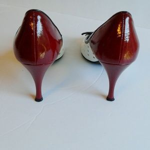 Donald J. Pliner Shoes - Donald J Pliner Red and White Bow Peep Toe Heels